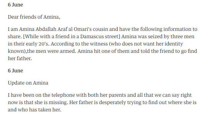 An extract from the end of the Gay Girl in Damascus blog, which has since been deleted