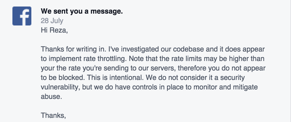 Response from Facebook security team