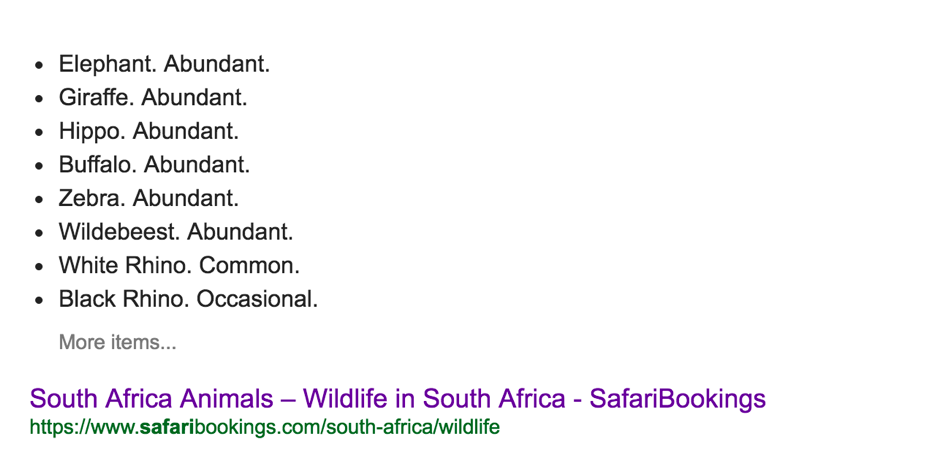 "Query ""what animals can I see on safari?"""