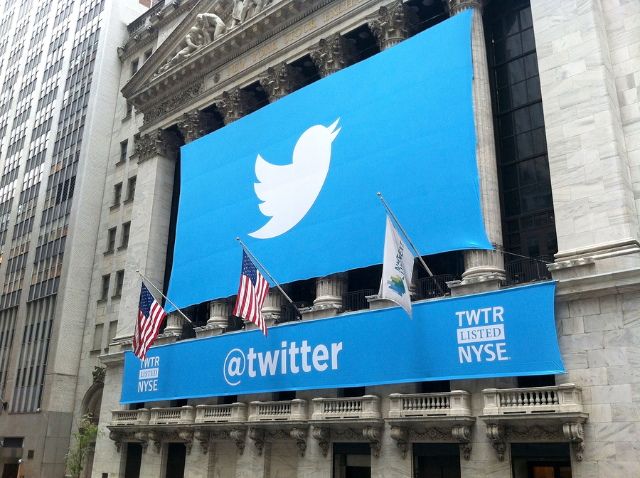 NEW YORK - NOVEMBER 7: The Twitter logo is shown on Wall Street