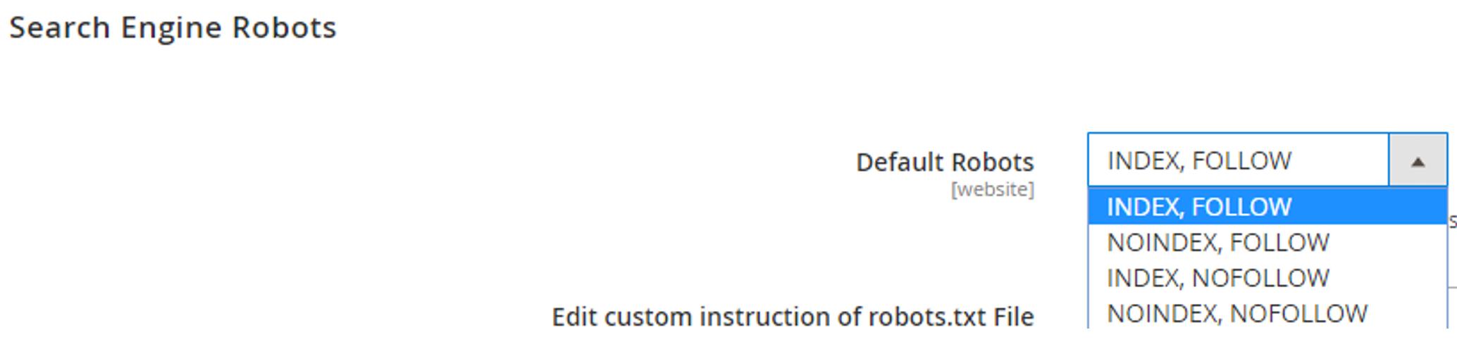 Magento 2 meta robots settings