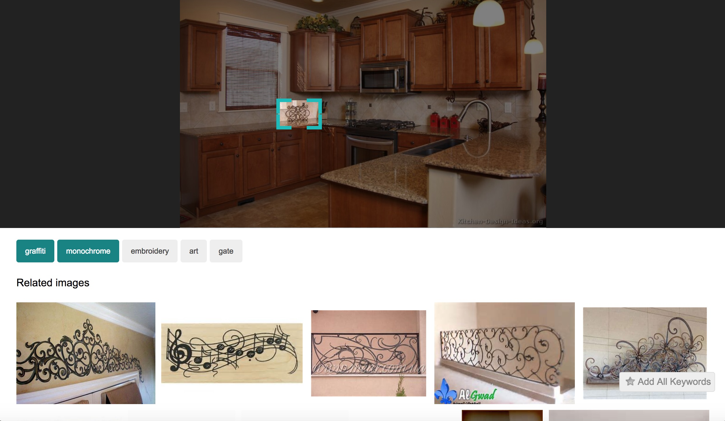 Bing visual search within images