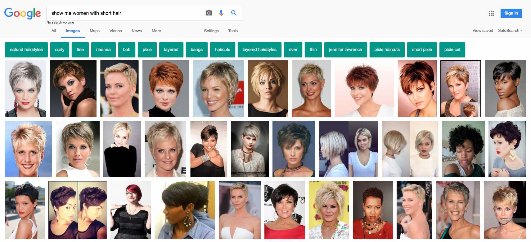 Google images with short hair