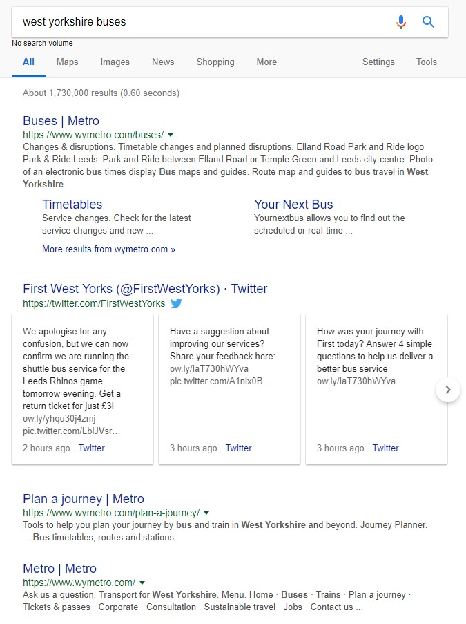 A Twitter account showing up in the SERPs