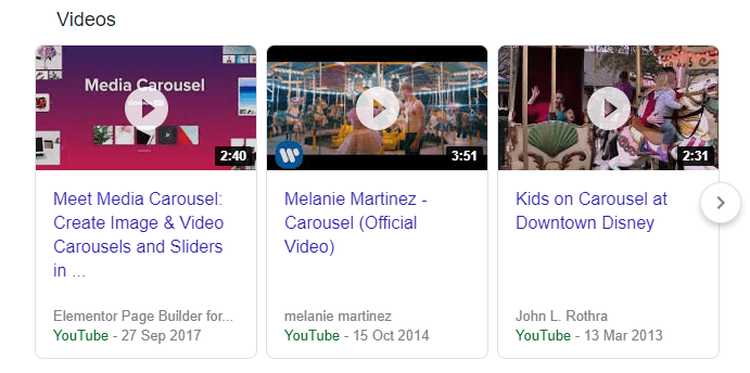 An example of a Google Carousel