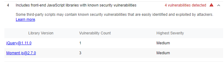 Example of vulnerabilities found in JavaScript