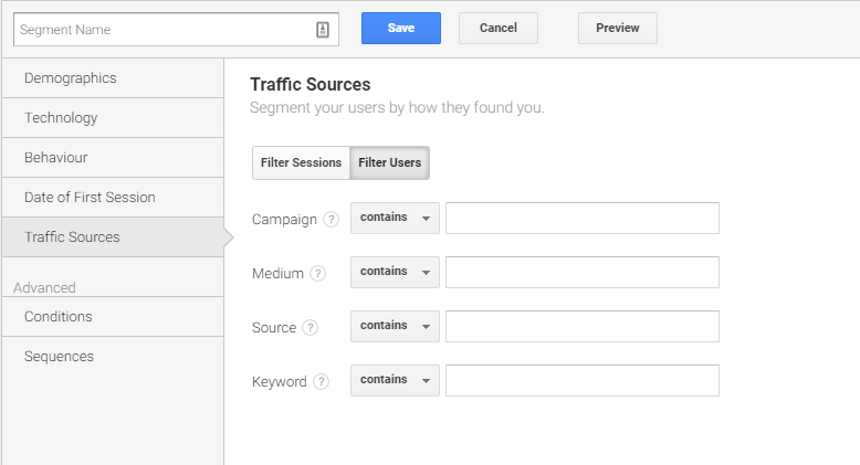 A screenshot of traffic sources within Google Analytics as an example.