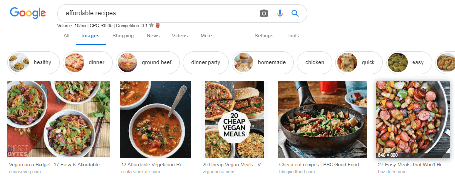 Google image search cheap food examples