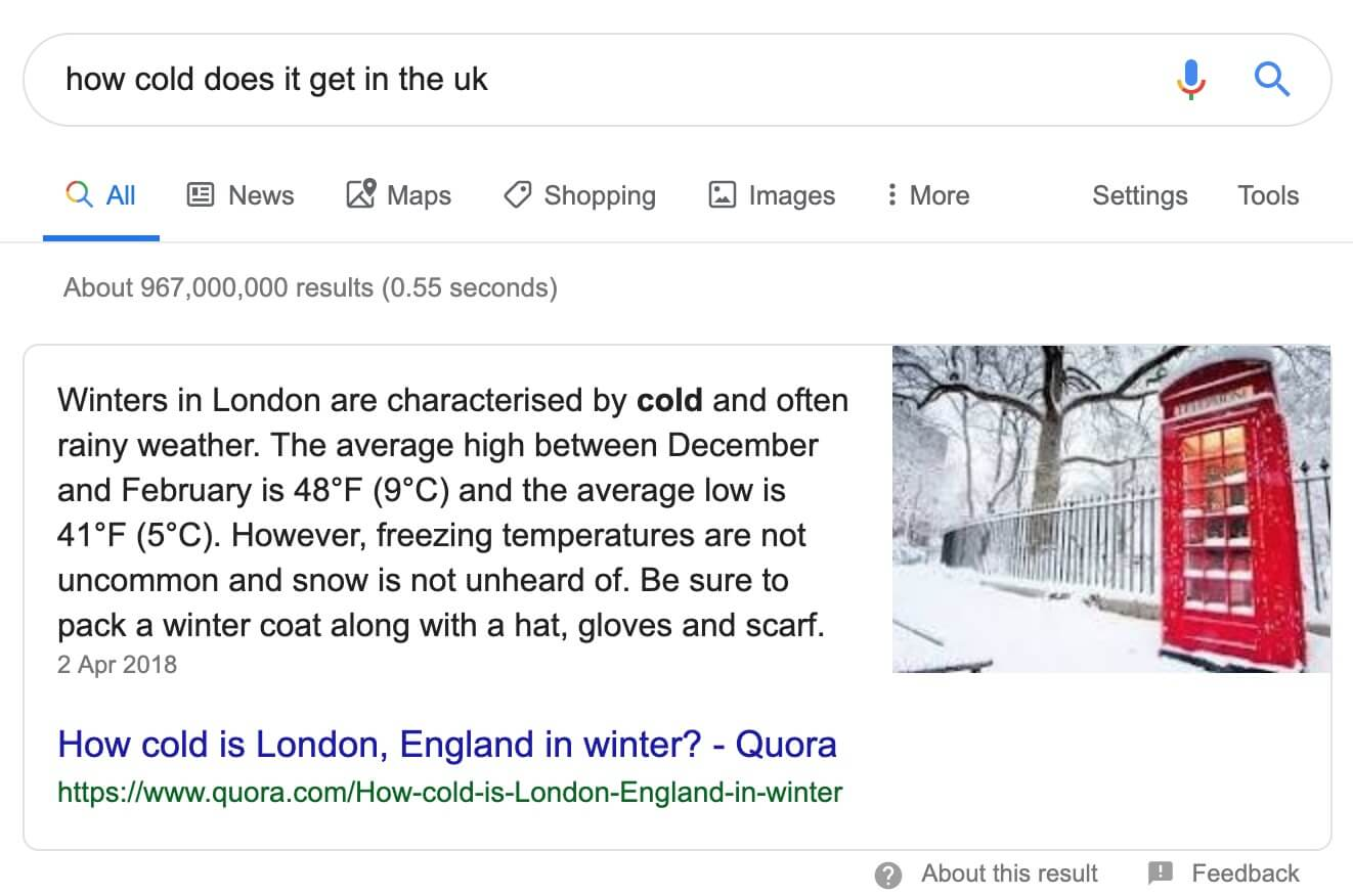 An example of a Google Featured Snippet.