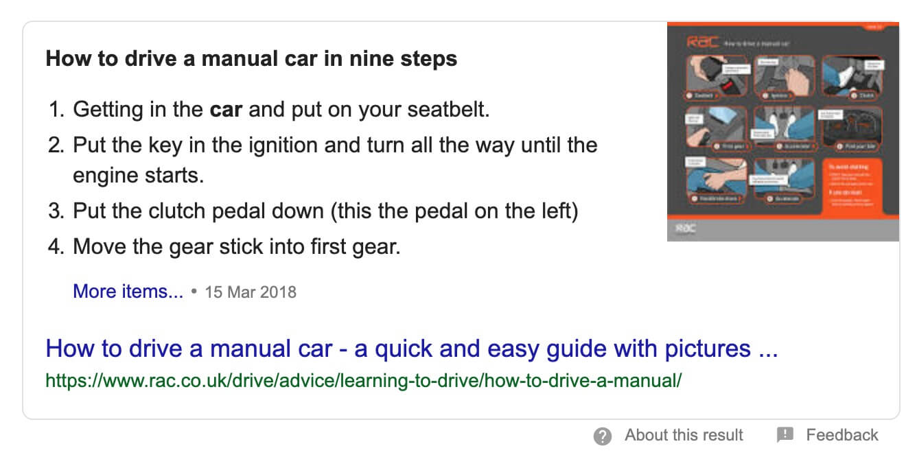 Example Featured Snippet Answer