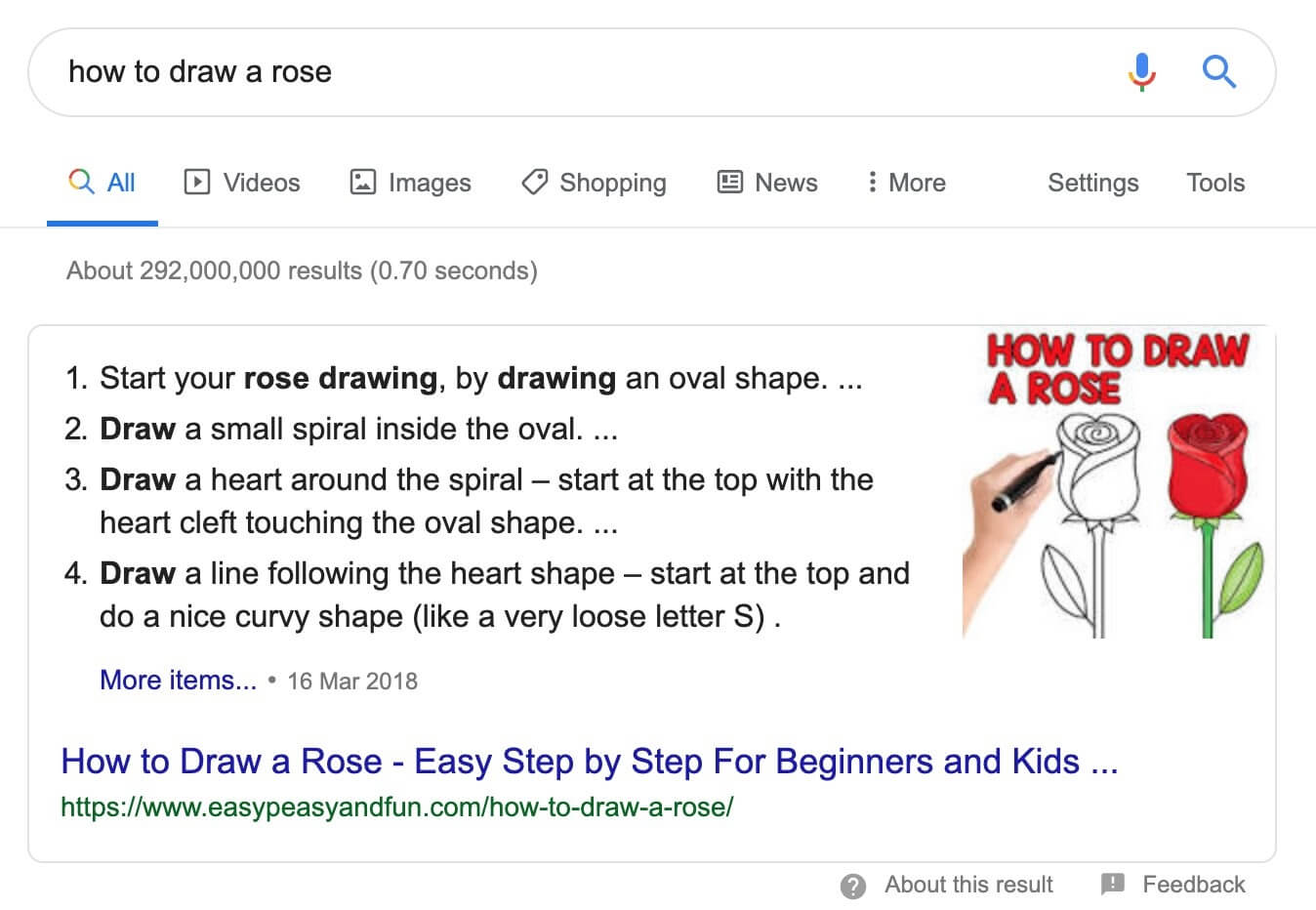 Numbered list Featured Snippet example.