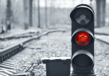 A concept picture of a traffic light showing the red stop light.