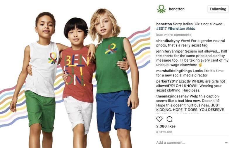 Benetton social media mistake