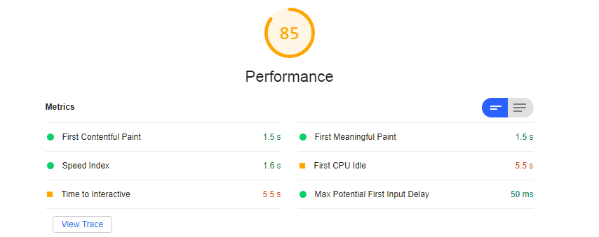An example of a lighthouse audit, showing the performance of a site.