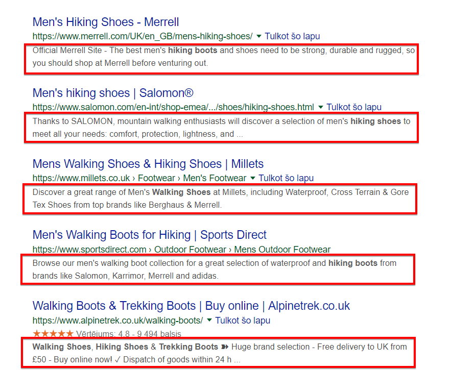 ecommerce meta description example