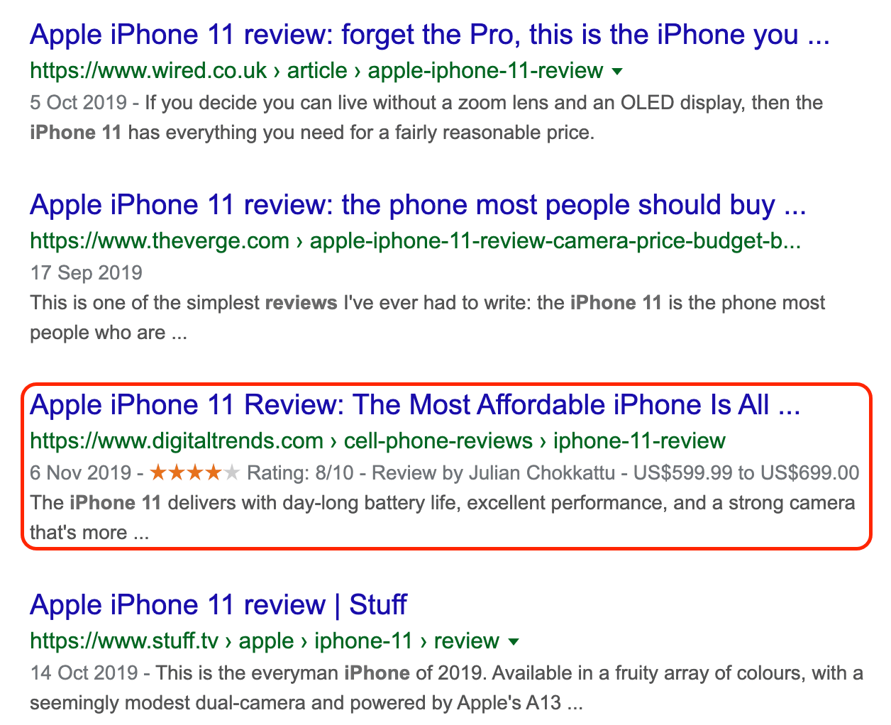 iPhone 11 search result example.