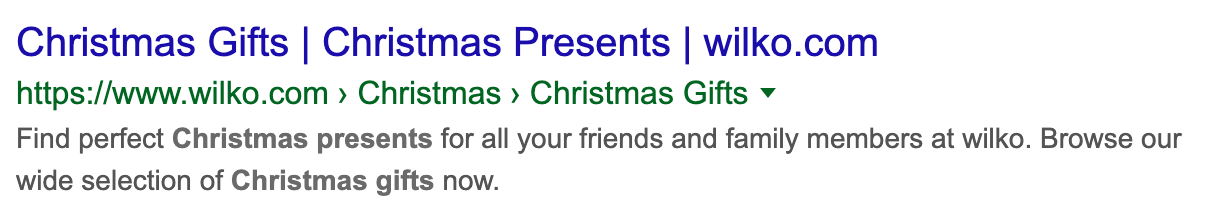 Example of a christmas gifts search result.