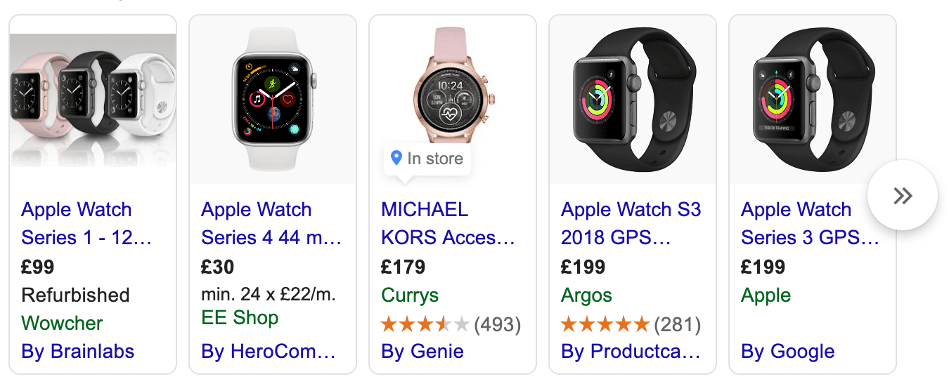 Example of a search carousel for watches.