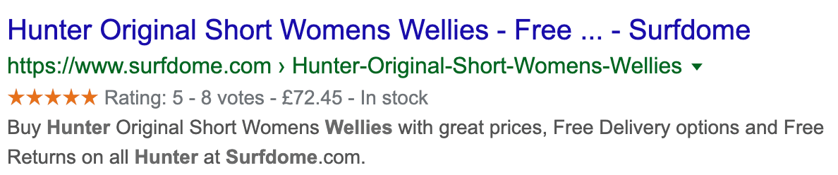 A search result example for Hunter Wellies.