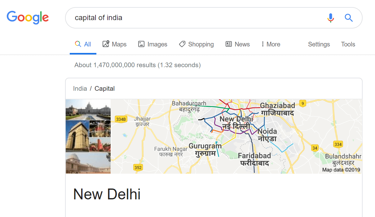 A know query example using New Delhi as the example.