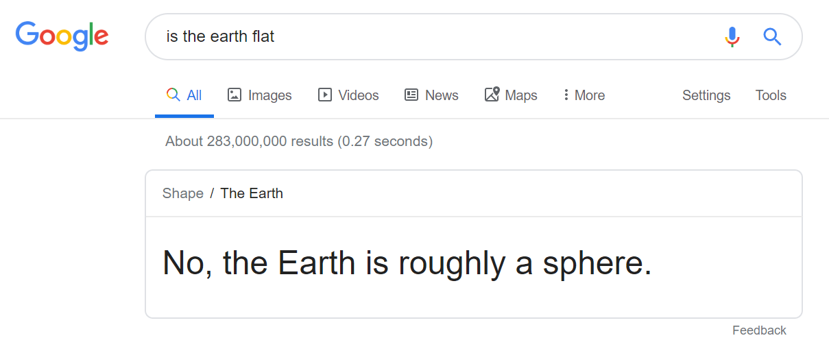 A search query asking whether the Earth is flat.