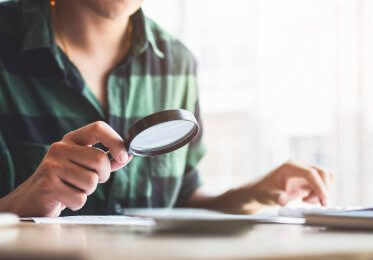 analysis using a magnifying glass