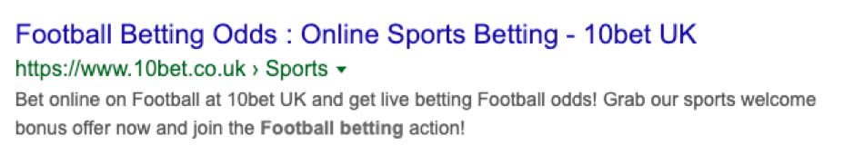 10bet SERP screenshot.
