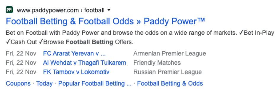 paddypower SERP screenshot.