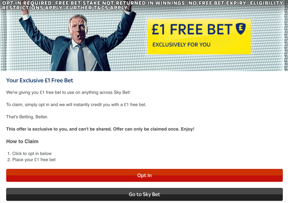 Skybet landing page screenshot.