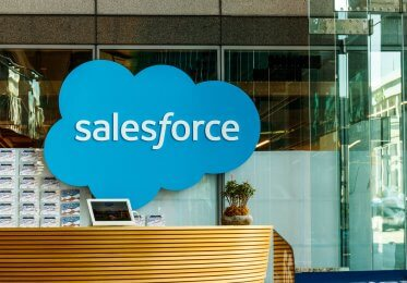 A picture of a Salesforce reception area in a building in the United States.