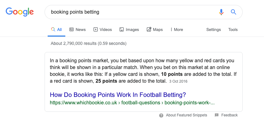 booking points featured snippet screenshot