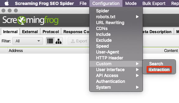 Screaming Frog Custom Extraction Screenshot