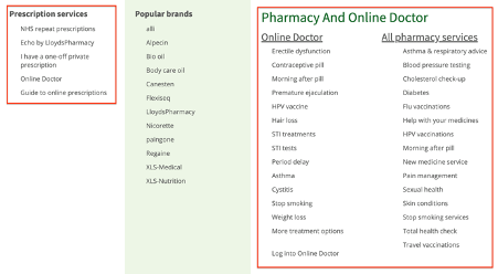 Lloyds pharmacy navigation screenshot
