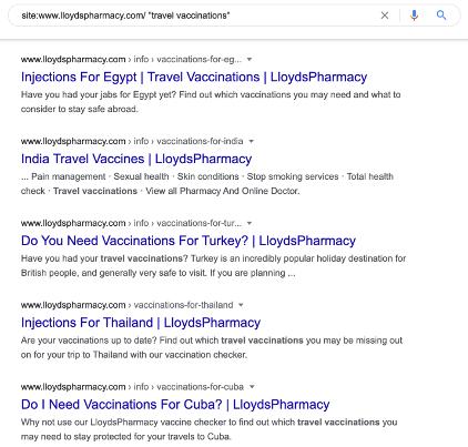 lloyds pharmacy travel vaccinations google SERP screenshot