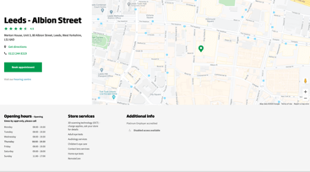 specsavers location page