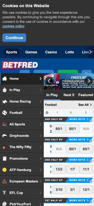 betfred mobile view screenshot