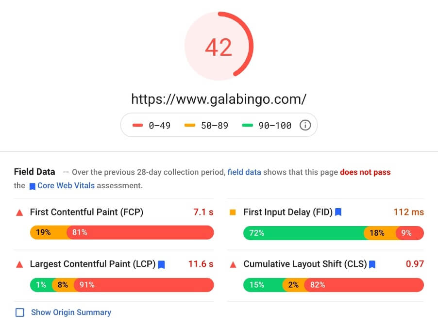 gala bingo page speed insights screenshot