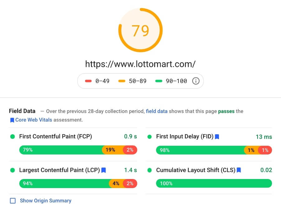 lottomart page speed insights screenshot