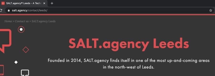 salt agency leeds landing page