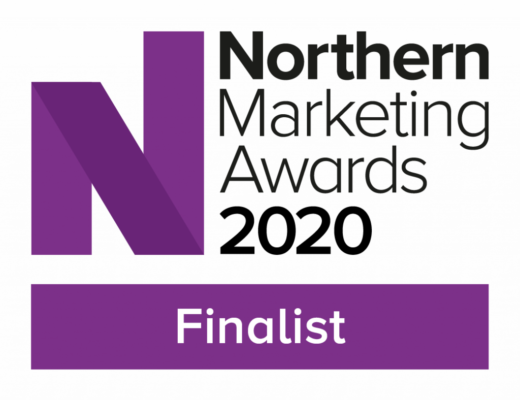 A badge for Nothern Marketing Awards finalists in 2020 in purple and black text