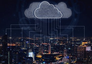 A concept of clouds raining data from a webste.