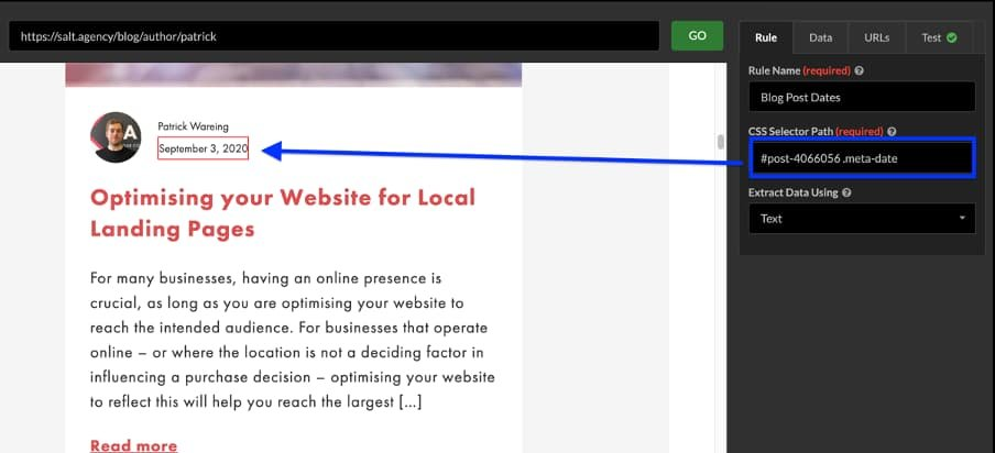 sitebulb custom extraction screenshot