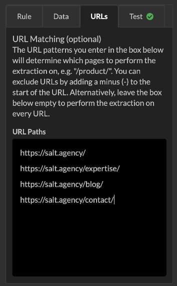 url matching tab sitebulb screenshot