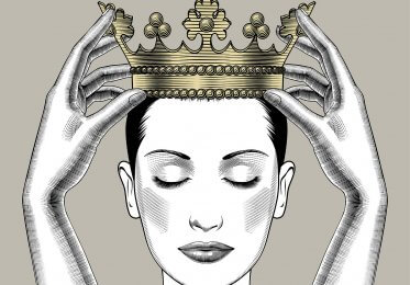 Concept imagfe of authority. A crown is placed on a Queen. Do not mess with this queen.